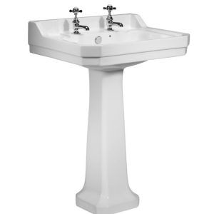 TAVDB850S TAVPE850S Vitoria 605 basin and pedestal 2 tap hole