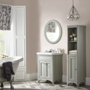 600 Langham basin unit and tall boy in steel grey plus oval mirror lifestyle