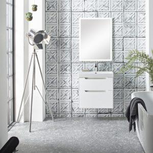 Monograph 600mm white drawer unit opus acrylic bath Lifestyle