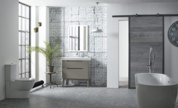 Monograph 800mm light clay with feet with modern mirror and Opus bath Lifestyle