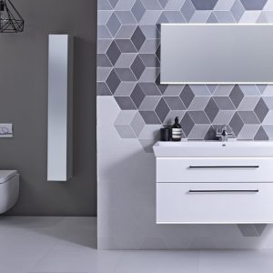 Scheme 1000mm White Gloss Ceramic Basin and Mirror Lifestyle FLIPPED V4
