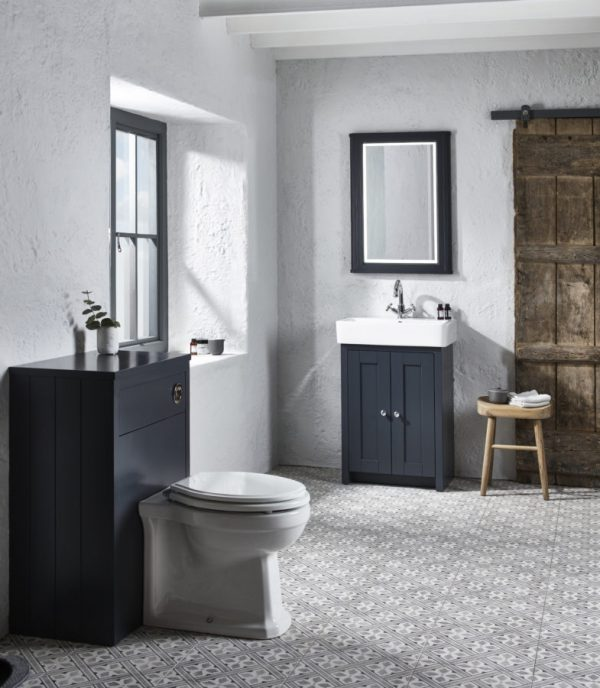 TAVLAN550B.DGM TAVLAN600BTW.DGM Lansdown 550 freestanding unit dark grey matt and back to wall unit lifestyle