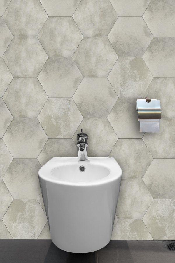 memphis grey hex wall and floor bathroom tile 1