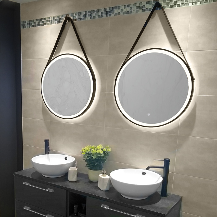 HiB Solstice 60 LED Round Black Framed Mirror with ...