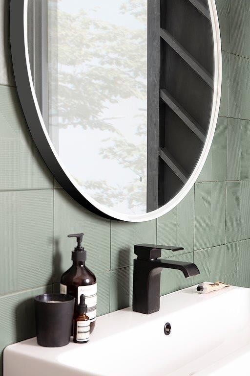 Frame grey circular mirror lifestyle