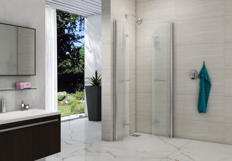 8 Series Double Folding Showerwall Open LR scaled