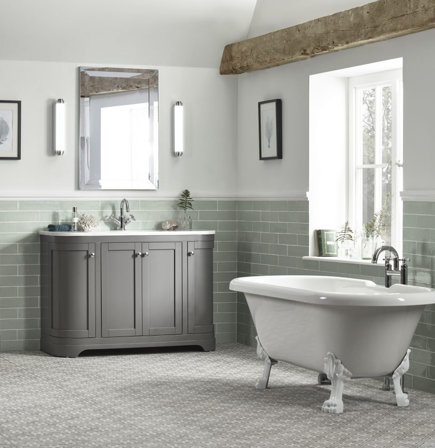 Marlborough 1200mm curved charcoal freestanding illuminated mirror and lights on white feet lifestyle v01 scaled