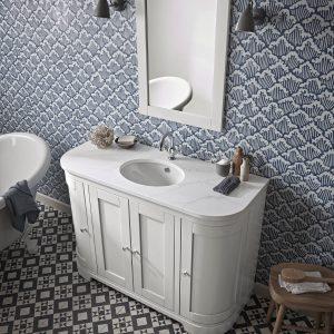 Lansdown 1200 curved 1 basin linen white lifestlye v1